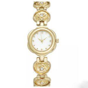 Charter Club Gold Rose Heart-Link Bracelet Watch